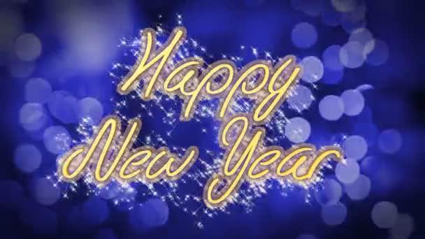 Glückliches Neujahr Glückwünsche Nachricht auf blauem Hintergrund ...