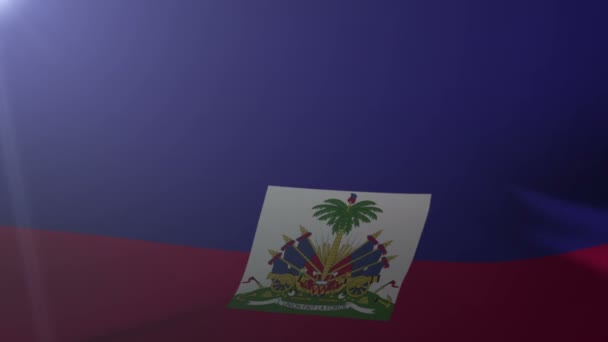 Flag Of Haiti Waving On Flagpole In The Wind National Symbol Of