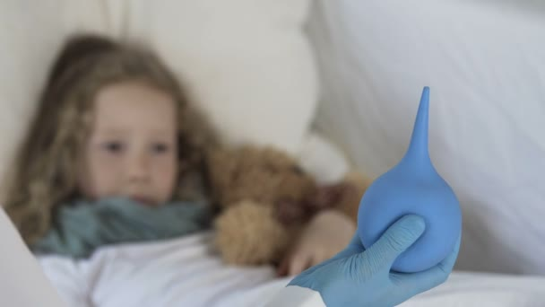 Little Frightened Girl Looking At Enema In Doctors Hand Illness And Healthcare Stock Video