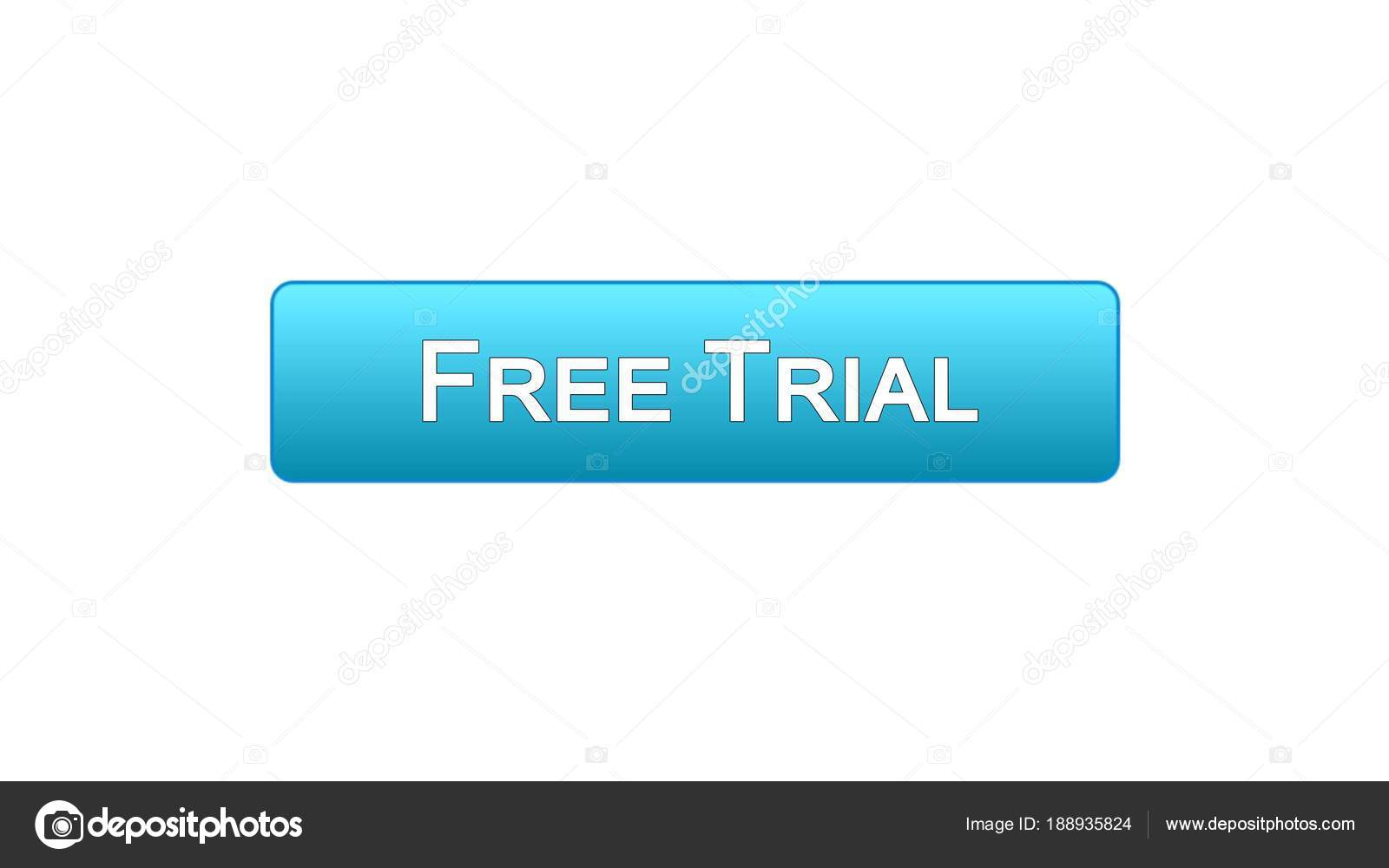 Free trial web interface button clicked with mouse cursor, blue.