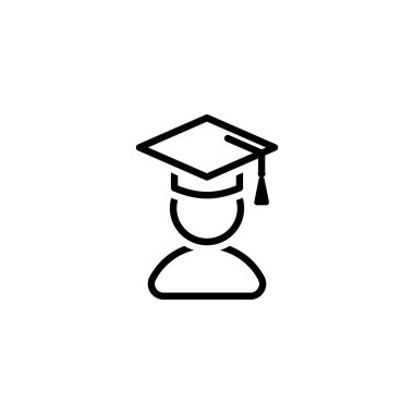 Vector education icon of a bachelor in a cap for online education, universities, schools etc.
