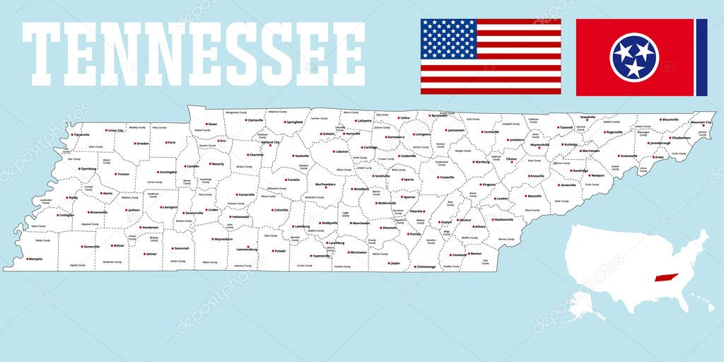 Map of Tennessee — Stock Vector © Malachy666 #127078416