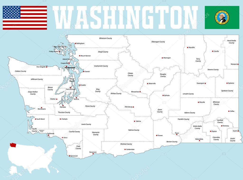 Map Of Washington Stock Vector C Malachy666 127078480