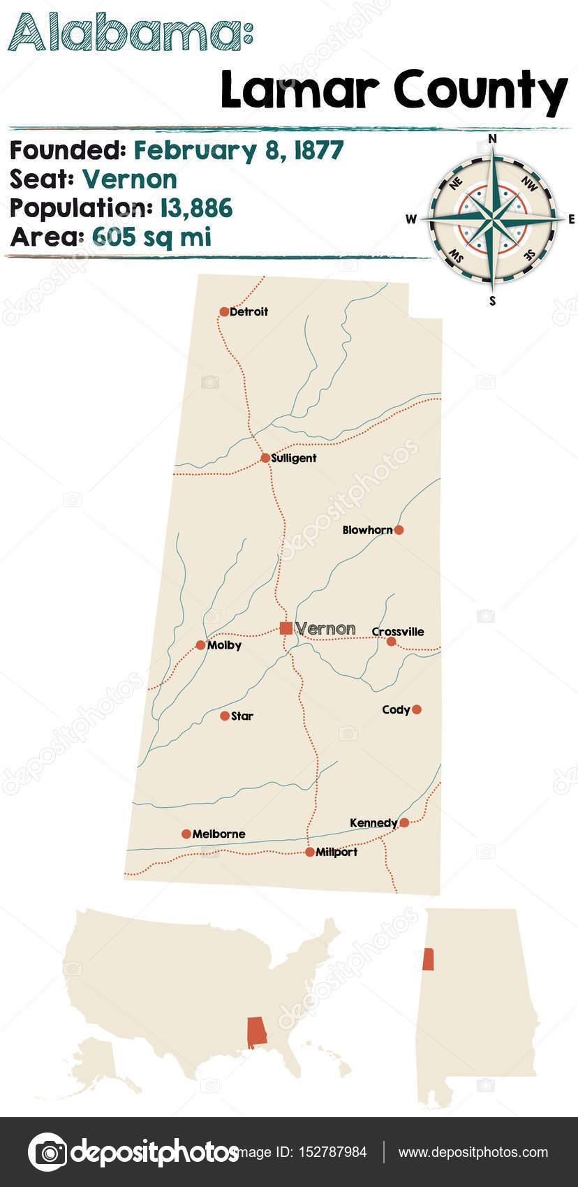 Alabama Lamar county map Stock Vector Malachy666 152787984