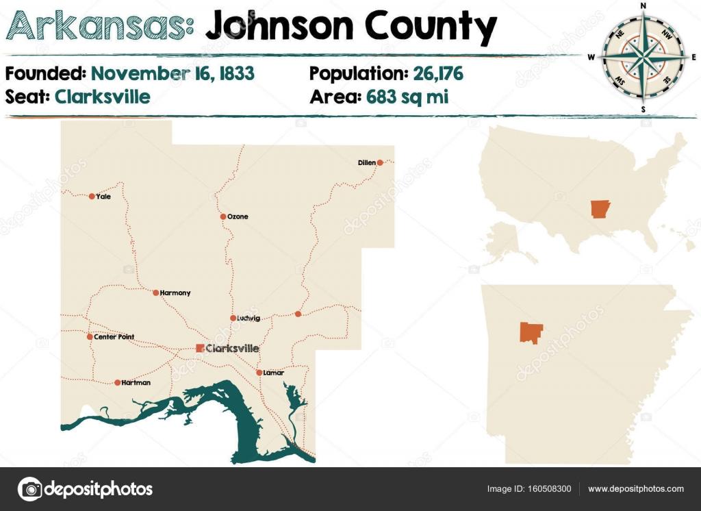 Arkansas: Johnson Condado mapa — Archivo Imágenes Vectoriales ...