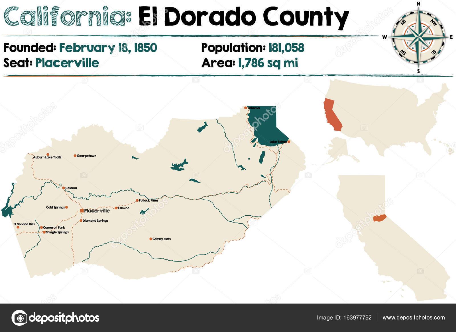 Kalifornien Karte.Kalifornien El Dorado County Karte Stockvektor Malachy666