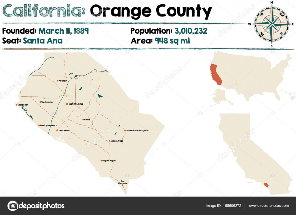 Large and detailed map of California Orange county Stock Vector
