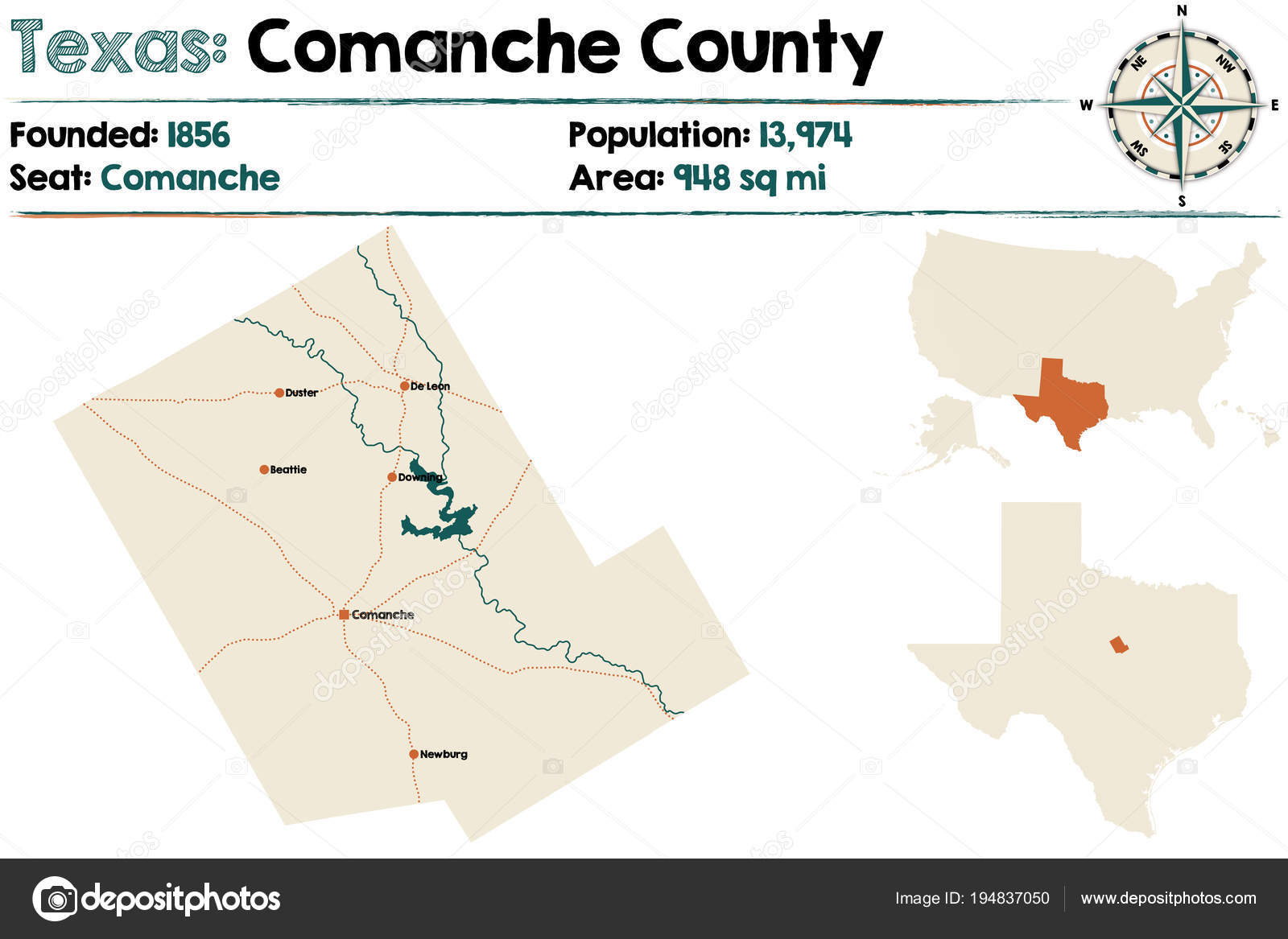 Detailed Map Comanche County Texas Usa Stock Vector