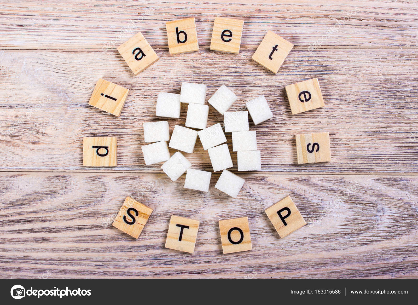Diabetes Stop Block Wooden Letters With Refined Sugar Stock Photo