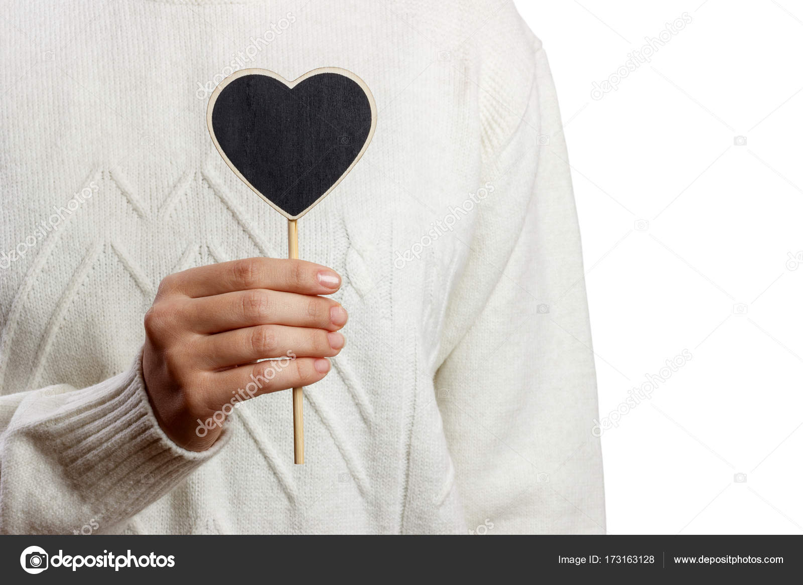 Girl Holding Black Heart Board On White Background Valentines Day Stock Photo C Snegok1967 173163128