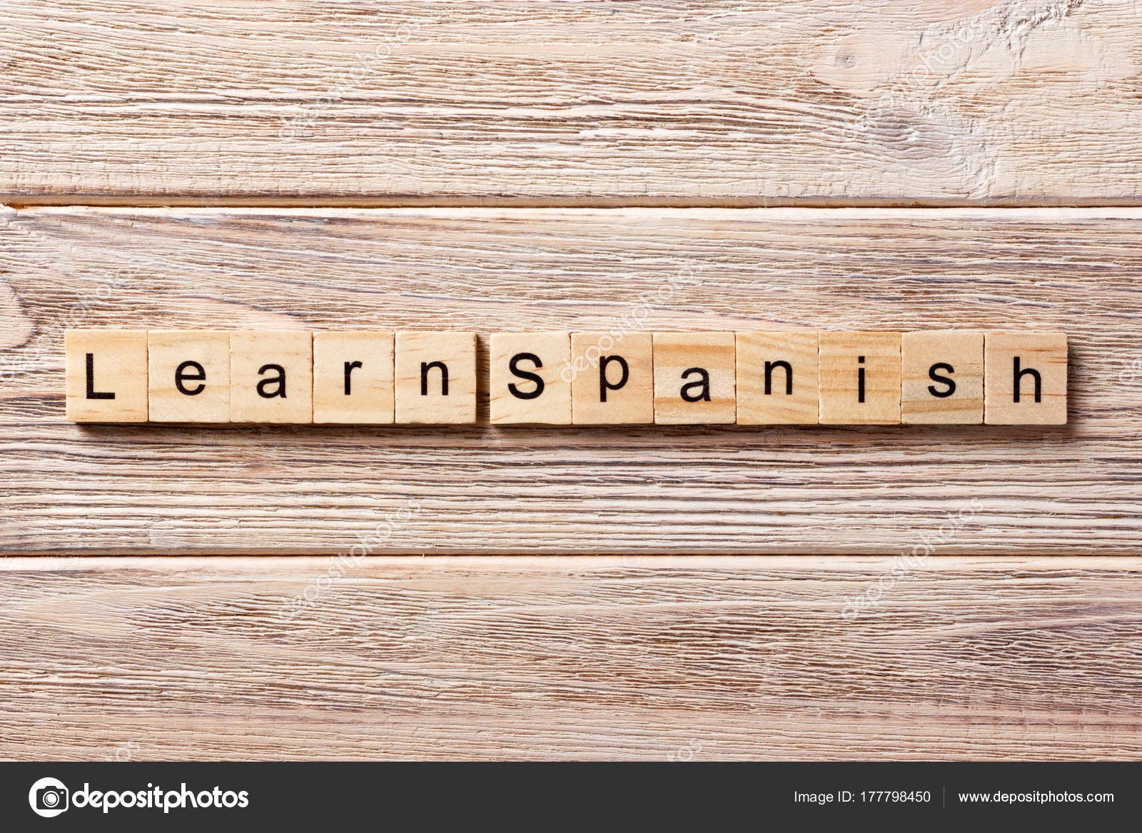 Lernen Sie Spanisches Wort Auf Holz Block Geschrieben Lernen