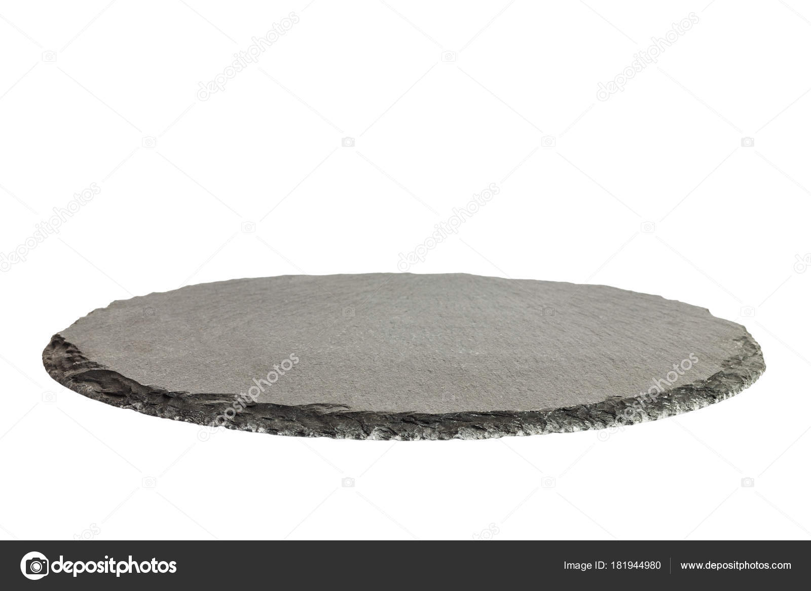 Black round natural tray. Empty kitchen slate board isolated on ...