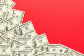 100 dollár bankjegyek színes háttér felső nézetben, üres hely a szöveges üzleti pénz fogalmát. 100 dollár háttér..