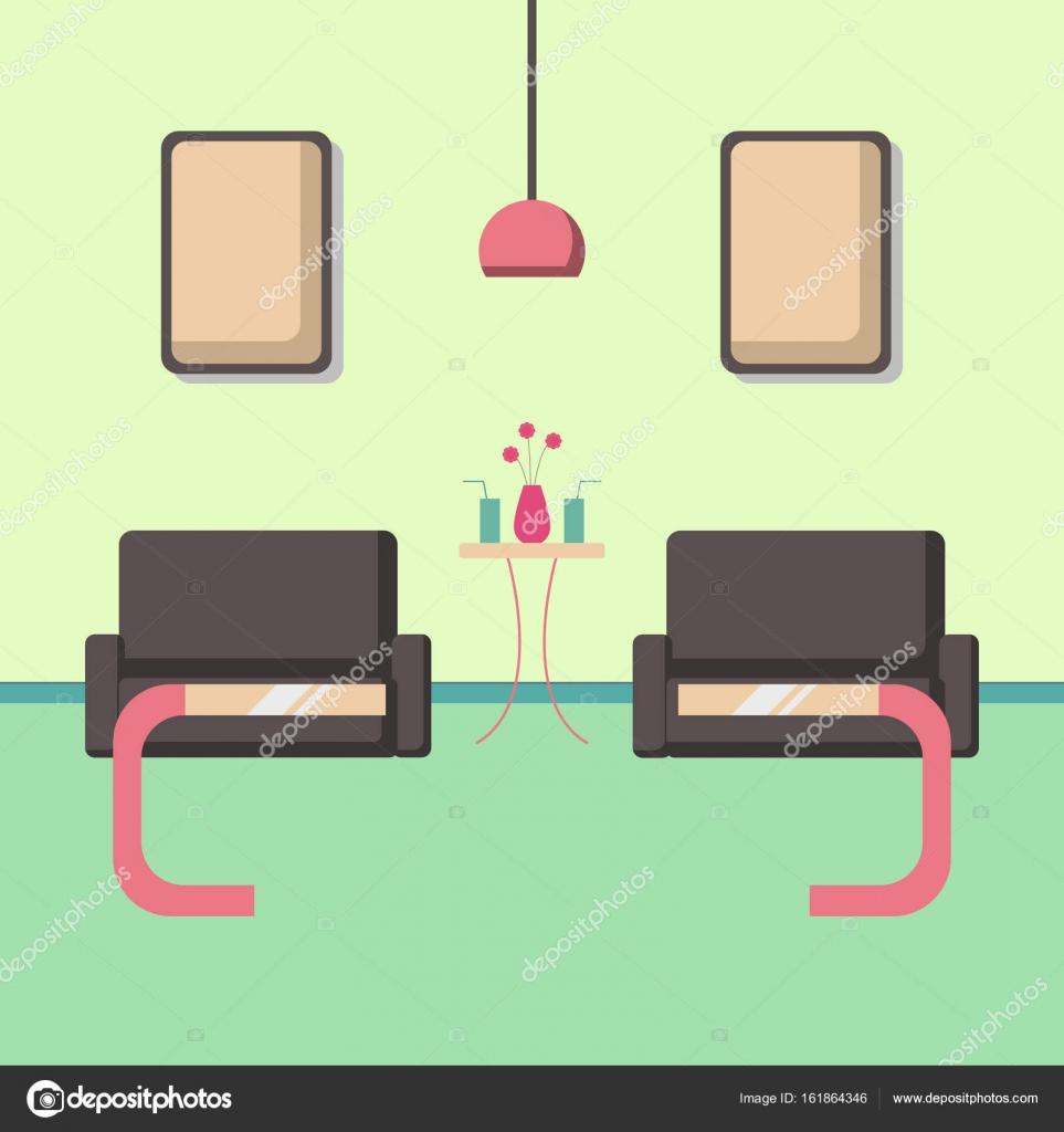 Sala de estar con sofá con ilustración de vector de estilo plano de ...