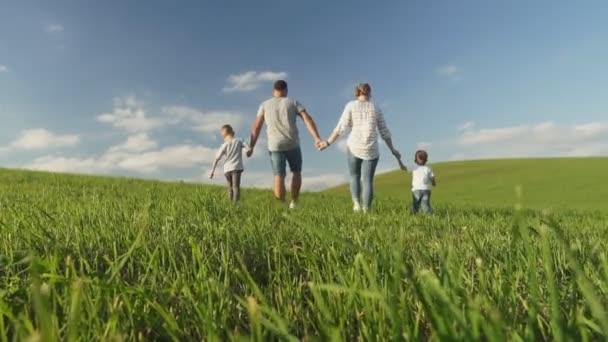 Rodina drží ruce při chůzi na zelené louce během slunečného dne