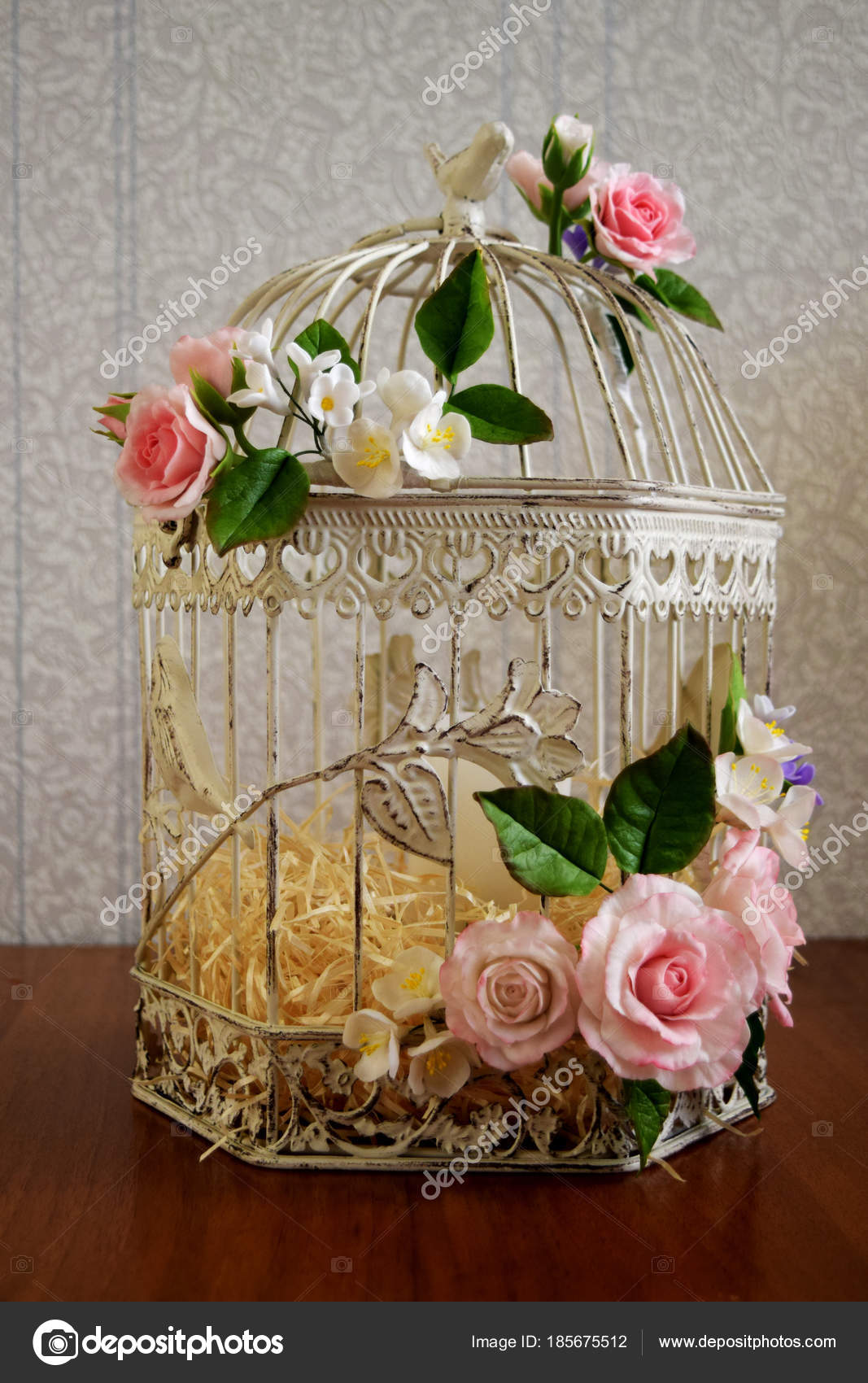 Bird Cage With Spring Blossom Flowers Wedding Decorations Stock