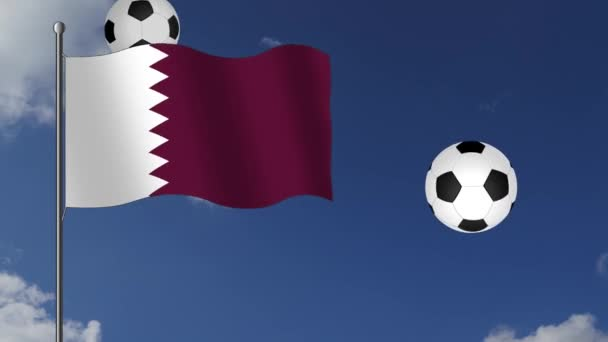 footage with Qatar Flag and falling soccer balls on blue sky with white clouds background
