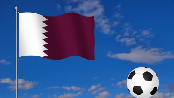footage with Qatar Flag and soccer ball on blue sky with white clouds background