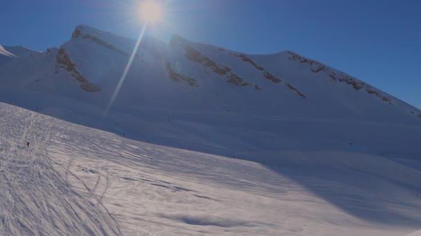 Snowy landscapes of  of ski resort in Switzerland