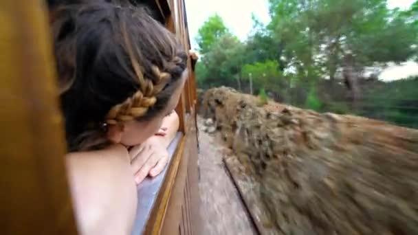 mladá atraktivní dívka cestování vlakem a sledování krajiny během cesty