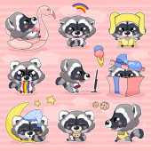 Photo Cute raccoon kawaii cartoon  characters set. Adorable and funny smiling animal isolated stickers, patches, kids book illustrations pack. Anime baby little raccoon emojis on pink background