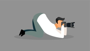 Photographer at work flat vector illustration. Paparazzi, reporter with camera waiting for perfect shot, exclusive photo. Private detective spying in crawling position with professional equipment