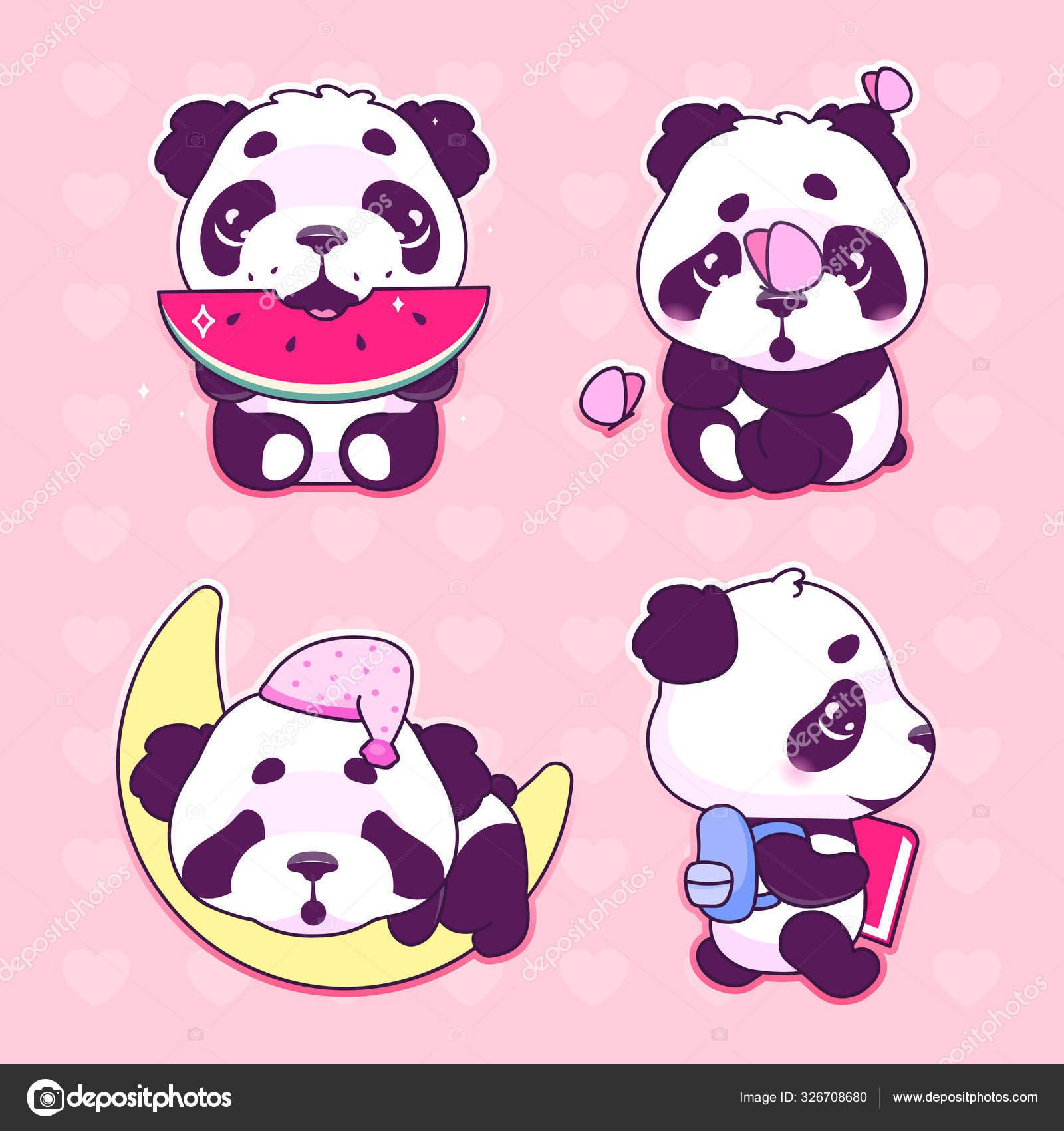 Cute Panda Kawaii Cartoon Vector Characters Set Adorable And Funny Animal Eating Watermelon Sleeping On Moon