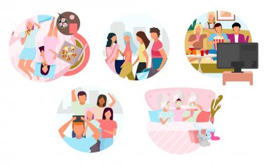 Friends pastime together flat concept icons set. Group of people spending time stickers pack. Shopping together, movie time, sleepover party. Isolated cartoon illustrations on white background icon