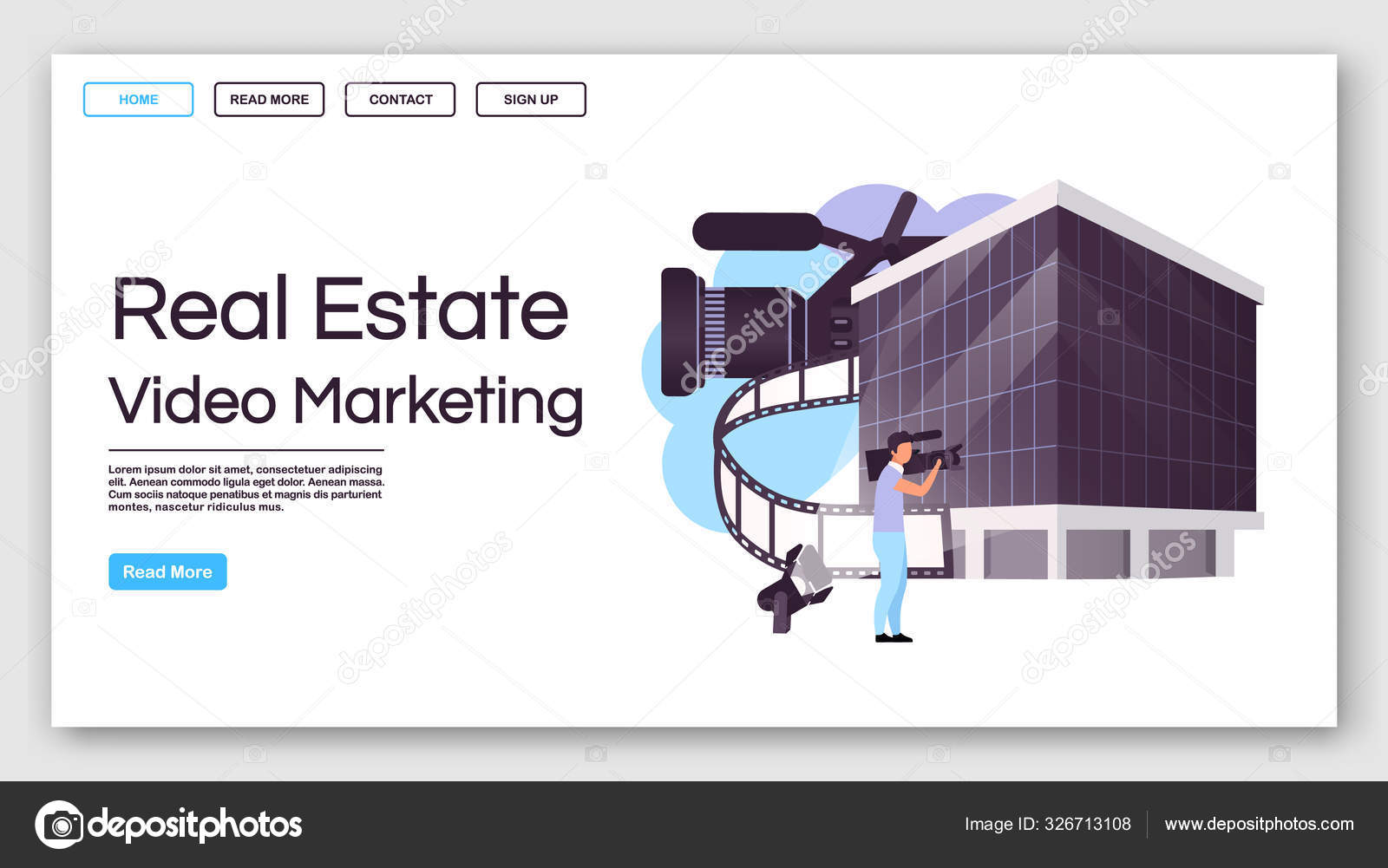 Real Estate Video Marketing Landing Page Vector Template House Advertisement Website Interface Idea With Flat Illustrations Building Commercial Homepage Layout Web Banner Webpage Cartoon Concept Stock Vector C Ntlstudio 326713108