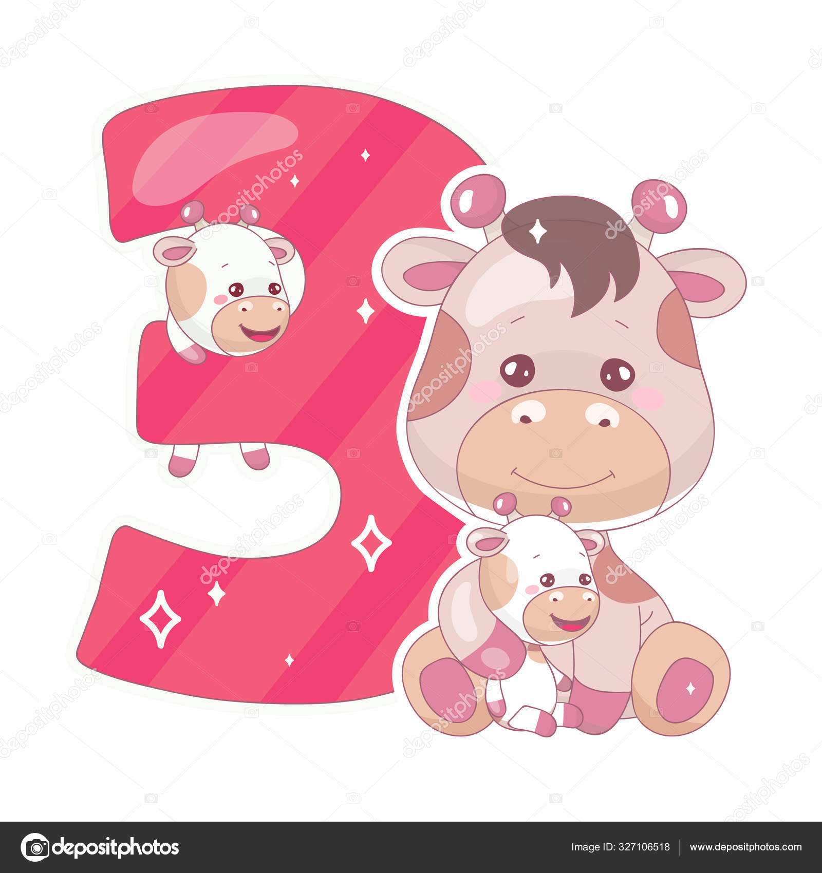 Cute Three Number With Baby Giraffe Cartoon Illustration
