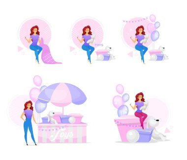 Woman making handcrafted toys flat vector illustrations set. Female character creating party decorations and playthings. Girl sewing plush, stuffed toys for kids. Isolated cartoon characters