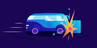 Car wreck flat color vector illustration. Automobile smashing against wall on blue background. Van hitting obstacle on high speed. Vehicle crash test, road accident, emergency situation