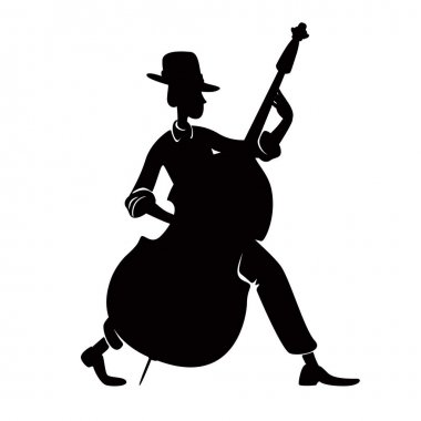 Musician with double bass black silhouette illustration. Jazz band member. Confident, cool person pose. Man playing musical instrument 2d cartoon character shape for commercial, animation, printing