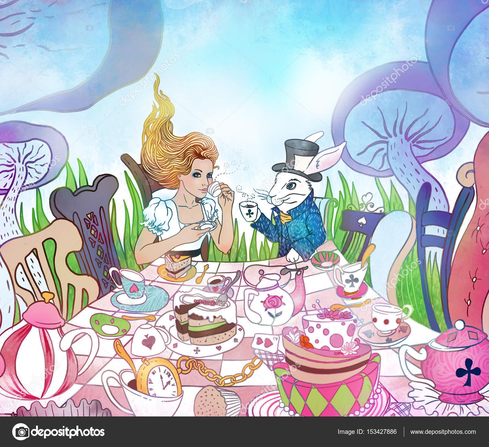 Mad Tea Party. Alice\'s Adventures in Wonderland illustration. Gi ...