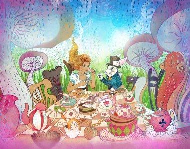 Mad Tea Party. Alice's Adventures in Wonderland illustration. Gi