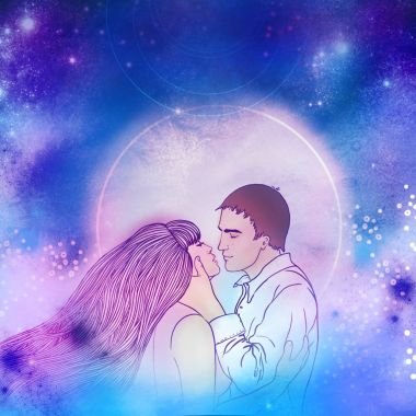 Young beautiful couple kissing in the moonlight. Romantic love,