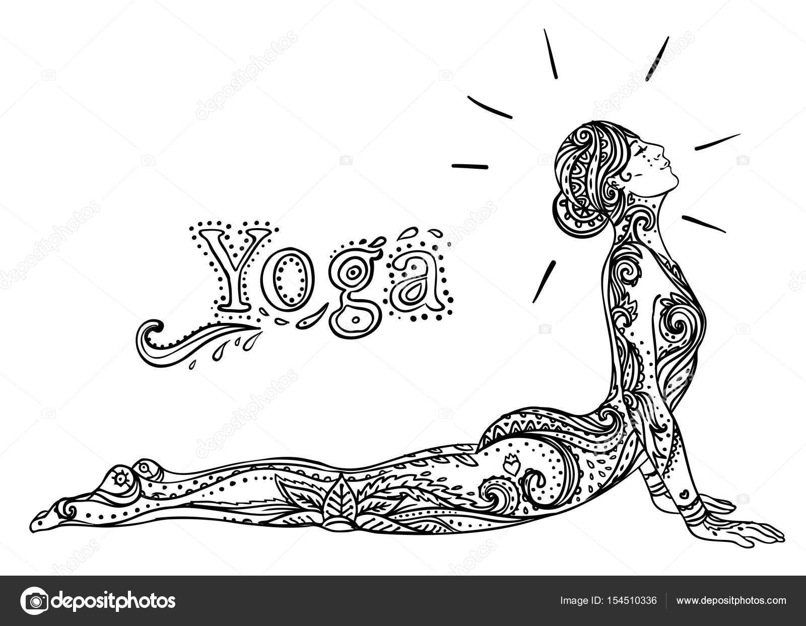 Dibujos: para colorear de posturas de yoga | Joven chica guapa
