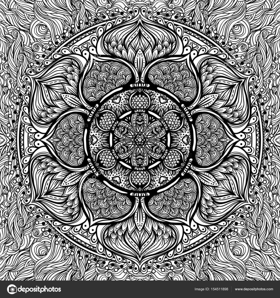Mandala Ornamental Vector Inspirado Arte Etnico Con Motivos Indios - Mandalas-indios