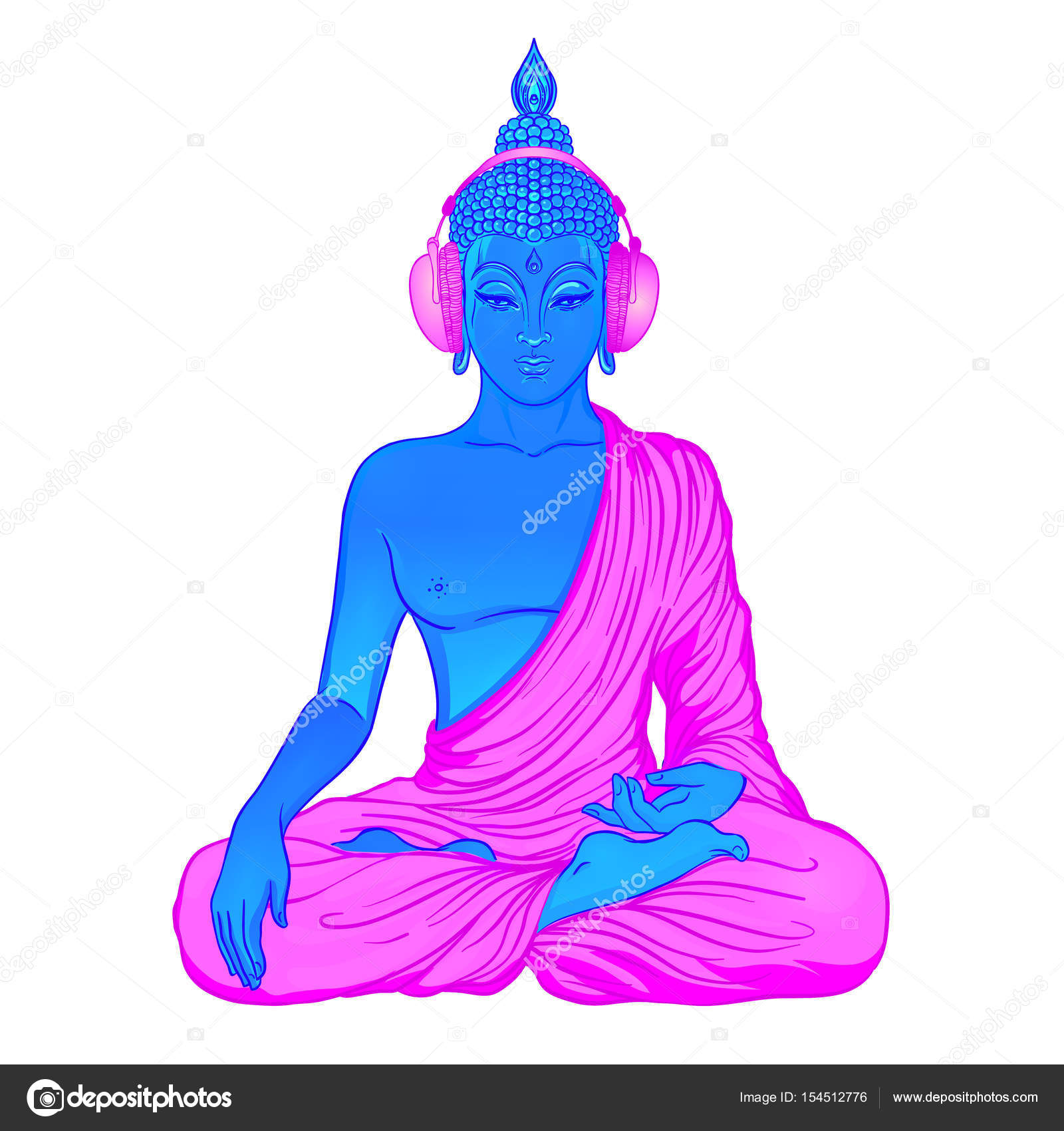 Modern Buddha listening to the music in headphones in neon