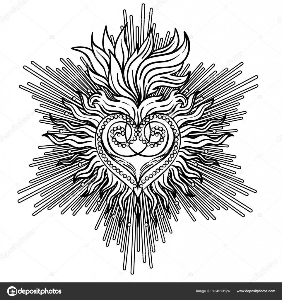 Sagrado corazón de Jesús con los rayos. Vector ilustración negro ...