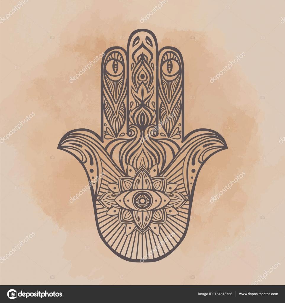 Reich verzierte handgezeichnete Hamsa. Beliebte arabische und ...