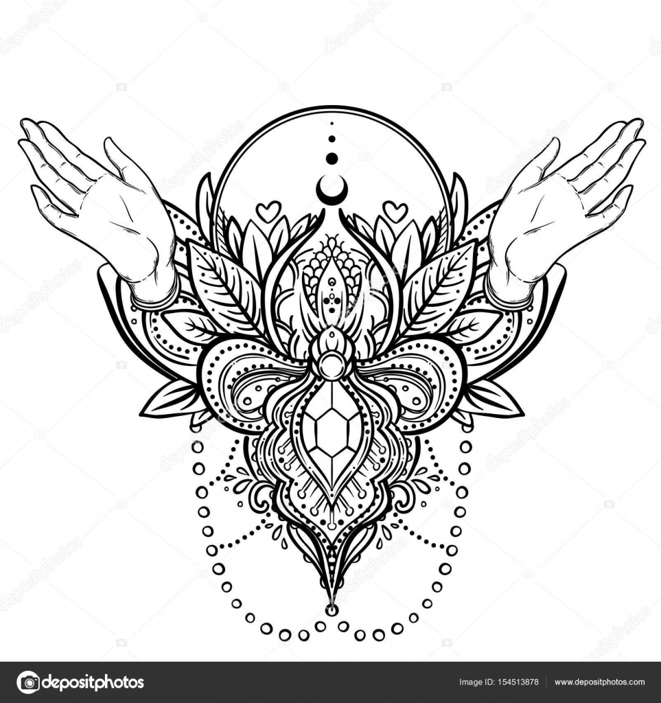 Vector Ornamental Lotus Flower And Praying Hands Patterned Indi