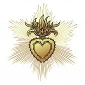 Herz-Jesu mit Strahlen. Vektor-Illustration schwarz-isola