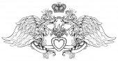 Fotografie Herz-Jesu mit Strahlen. Vektor-Illustration schwarz-isola