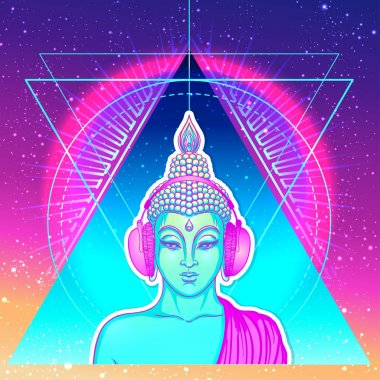 Modern Buddha listening to the music in headphones in neon color