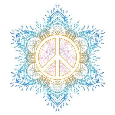 Peace symbol over decorative ornate background mandala round pat