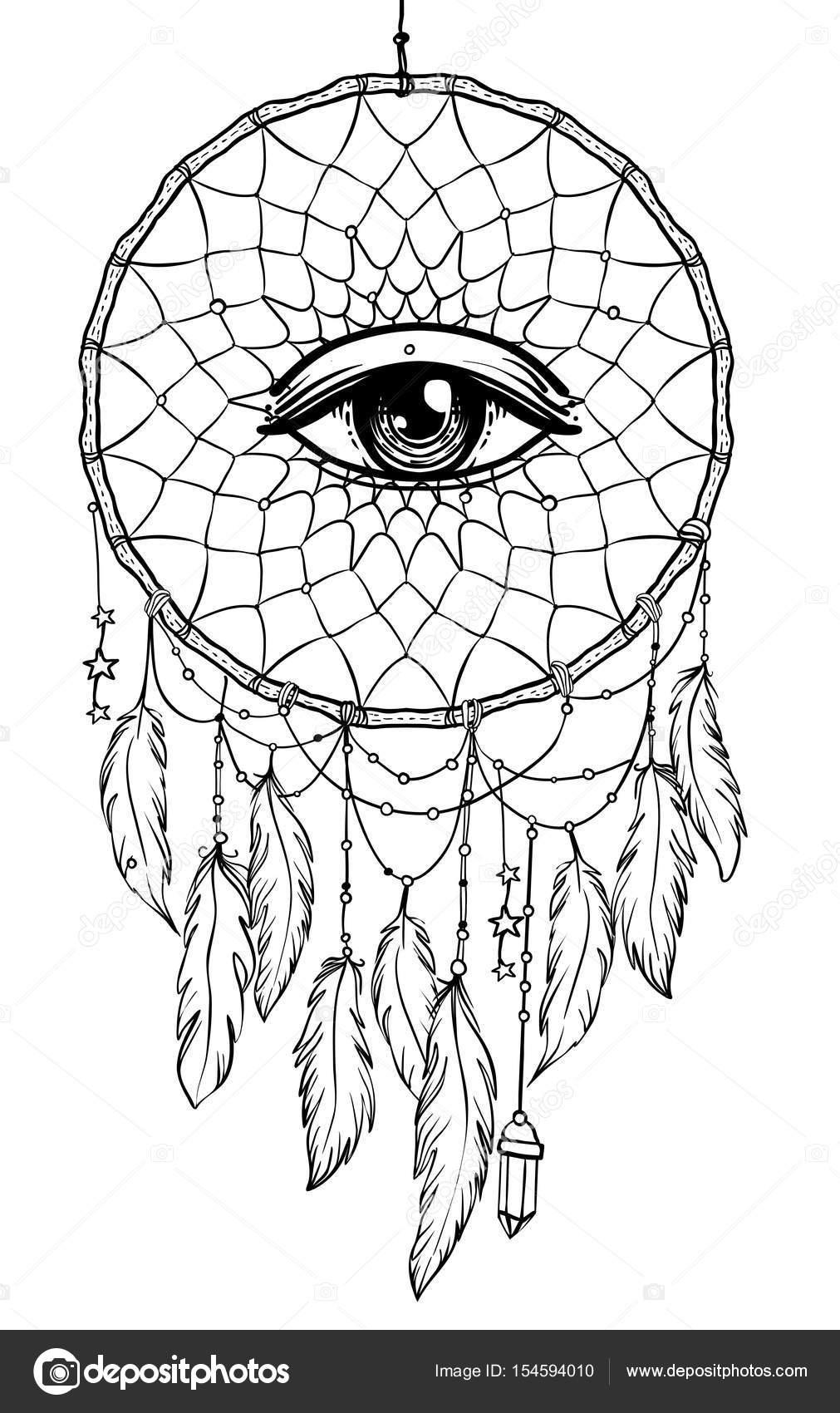 Mano dibujada dreamcatcher de talismán de indio nativo americano con ...