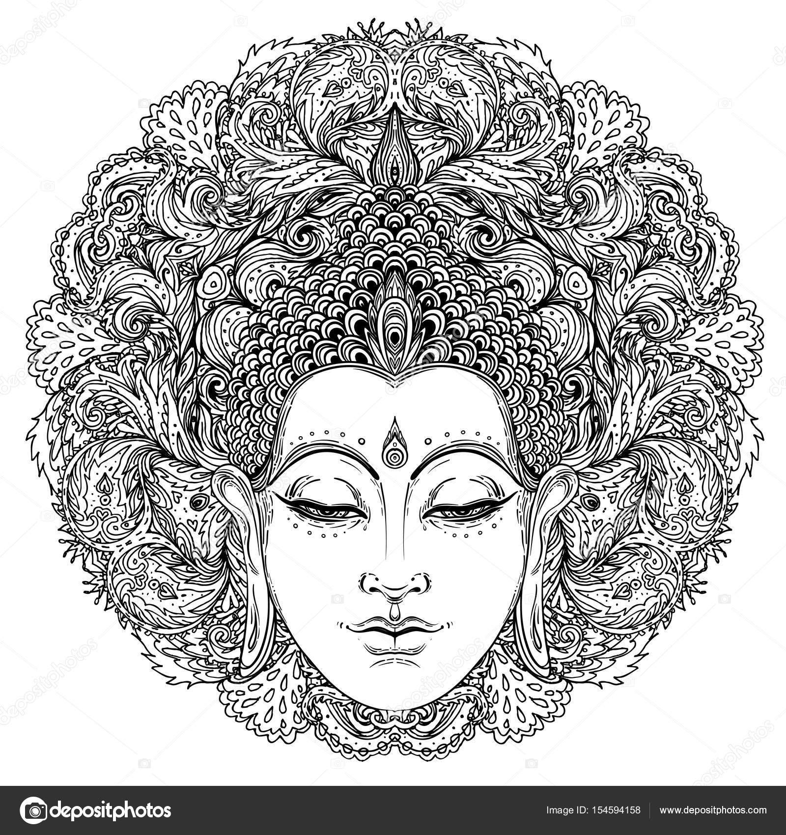 Cara de Buda sobre el mandala recargado redondo patrón. Vintage ...
