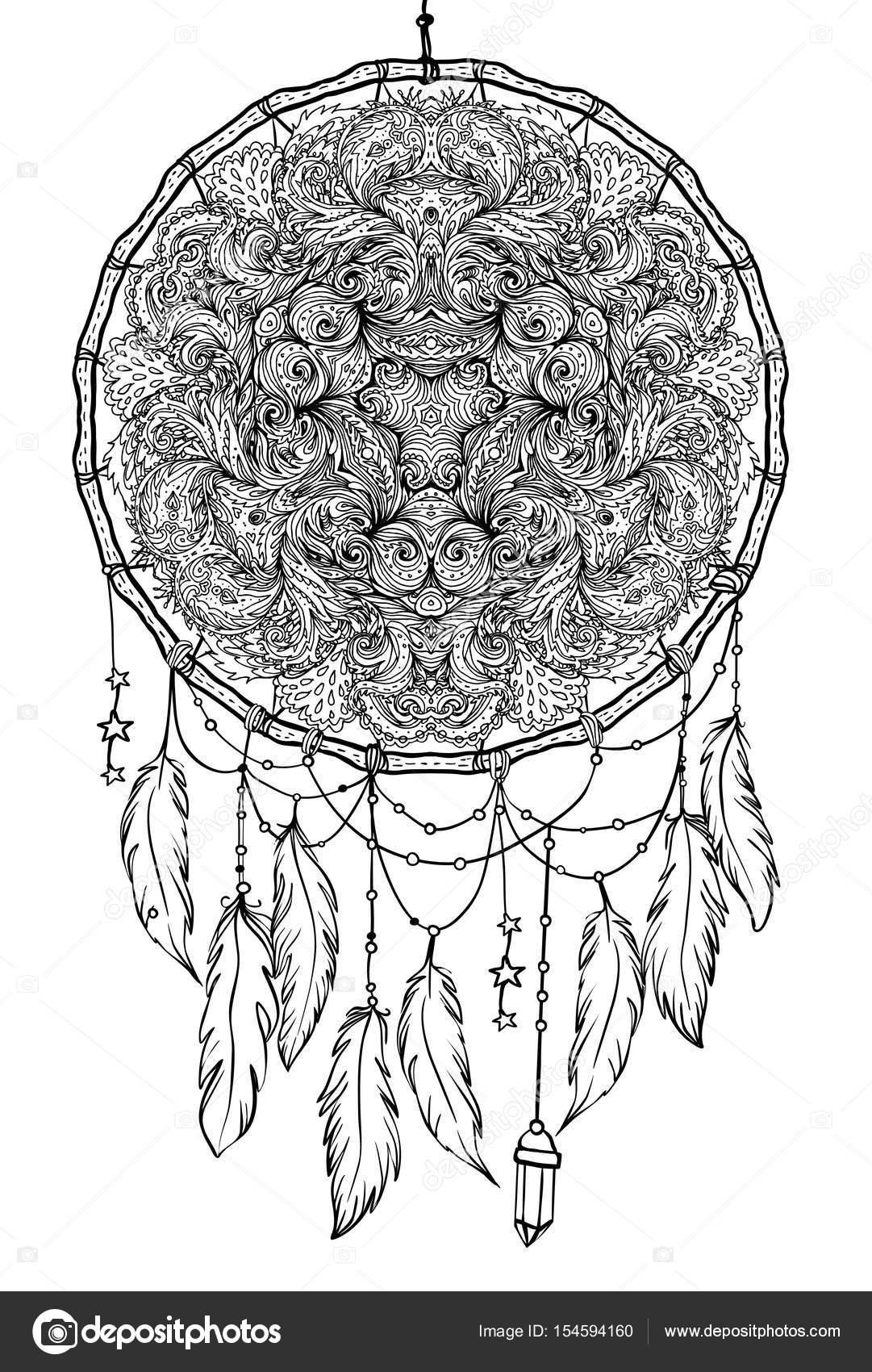 Imágenes: indios para dibujar | Mano dibujada dreamcatcher de ...