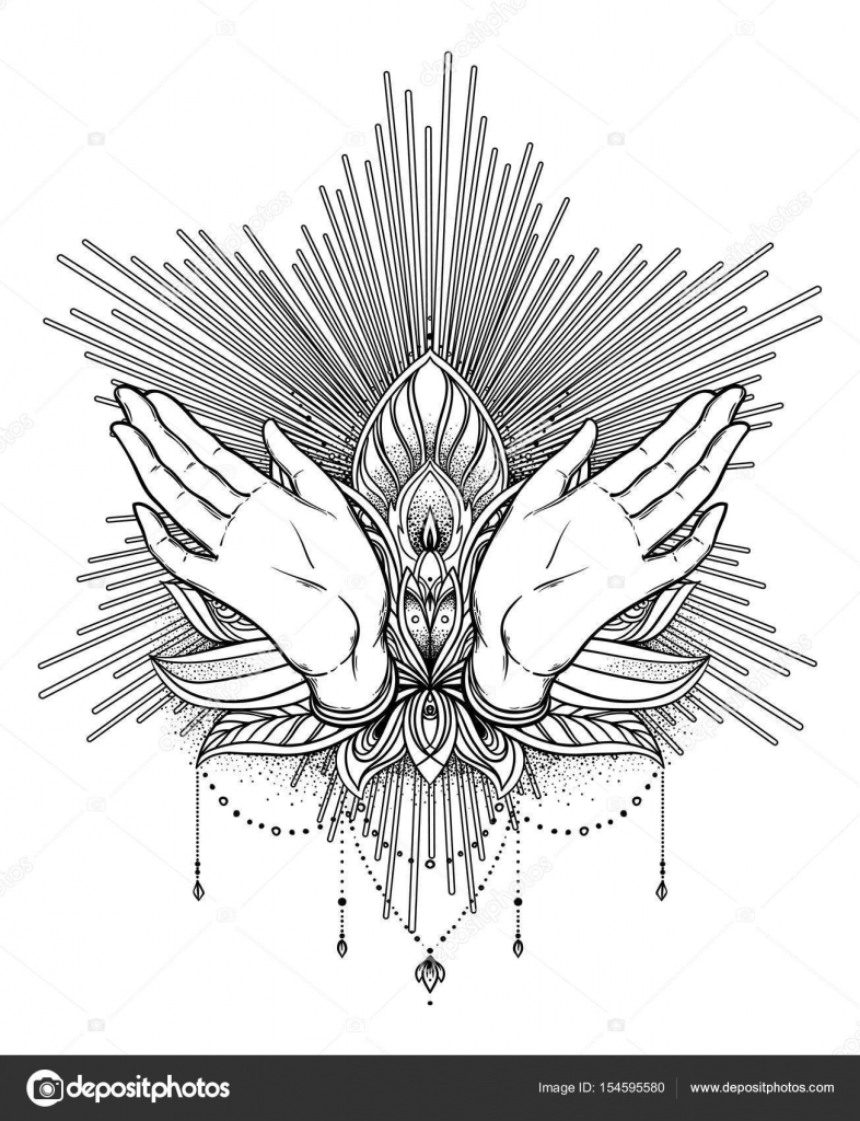 Vector ornamental lotus flower and praying hands patterned indi vector ornamental lotus flower and praying hands patterned indi stock vector ccuart Choice Image